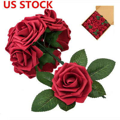 US 50pcs PE Foam Rose Flower Wine Red DIY Wedding Party Home Bridal Bouquet Gift