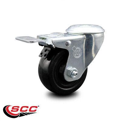 Hard Rubber Swivel Bolt Hole Caster W3.5 Wheel Total Lock Brake