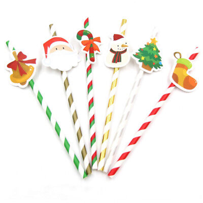 10Pcs Christmas Theme Paper Drinking Straws Xmas Cocktail Party Decor Tableware