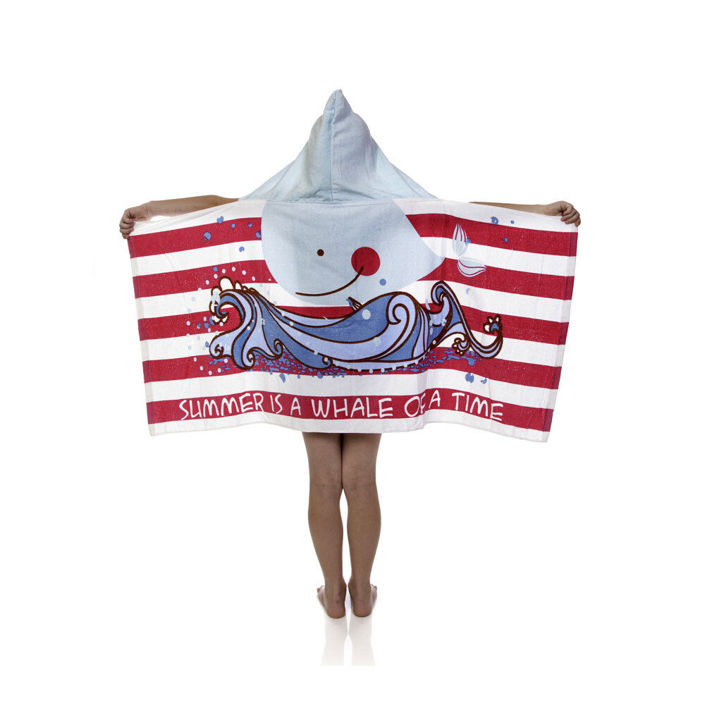 Kids Toddler Girls Summer is a Whale of Time Hooded Poncho T