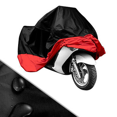 XL Motorcycle Waterproof Outdoor Indoor Motorbike Bike Cover + Bag Red Black