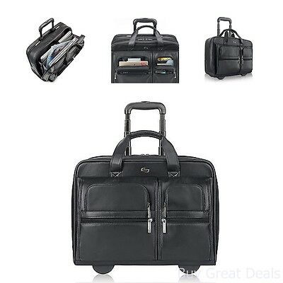 Black Leather Rolling 15 Inch Laptop Case Wheeled Bag Business Computer Travel