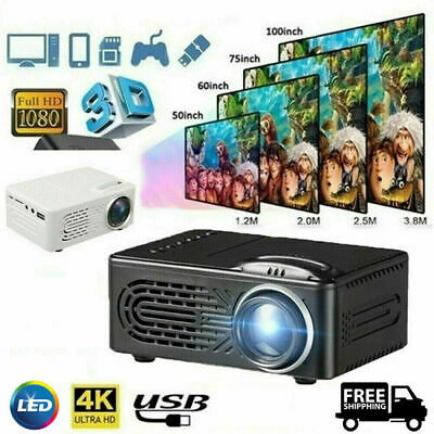 1080P 4K 7000LM LED Mini Projector Full HD Moive Home Cinema Theater AV New Hot