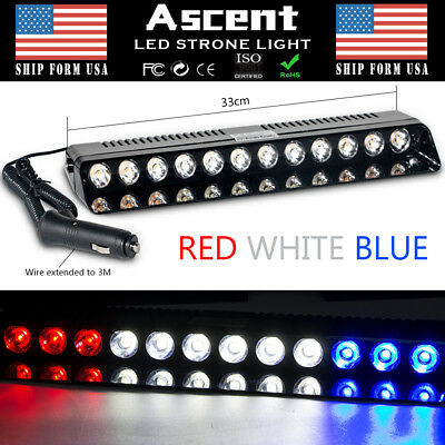 12 LED Strobe Lamps SUV ATV Hazard Emergency Flashing Warning Light Bar R/W/B OF