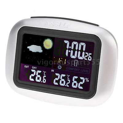Wireless Weather Station Clock Digital Indoor Outdoor Temp Humidity Tester A4Z4