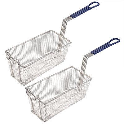 Commercial Restaurant Home 2pcs Deep Fryer Baskets w/ Non Sl