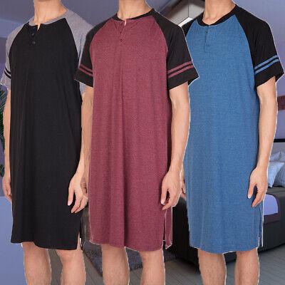 Mens Sleepshirt Short Sleeve Sleepwear Home Nightgown Raglan Long Night Shirt US - Mens Night Shirt