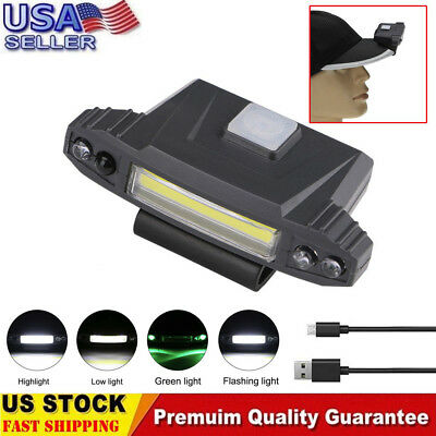 92c4b5fe63ae6 Infrared Induction LED USB Rechargeable Clip On Cap Hat Light Headlamp  Hiking US