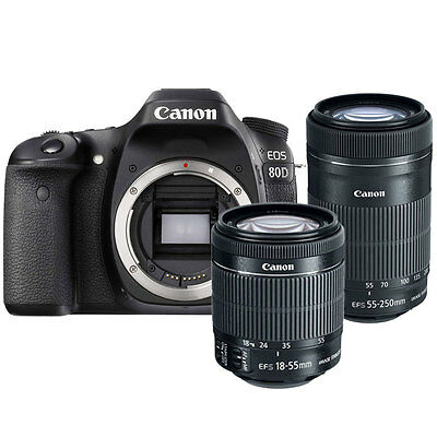 Canon EOS 80D 24.2MP Digital SLR Camera with 18-55 + 55-250mm Lens - Hodiay Gift