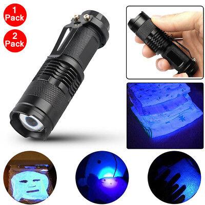 1~2 High Powered UV Lamp Black Light Ultra Violet Flashlight 365nm W/ 5Watt LED