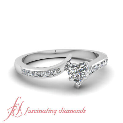 .65 Ct Heart Shape Diamond Twisted Edge Engagement Ring Channel Set 14K VVS2 GIA