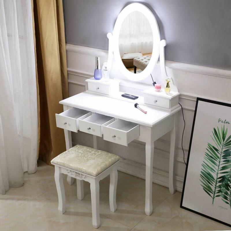Makeup Dressing Table Vanity Set With Mirror 10 Led Lights for Bedroom White