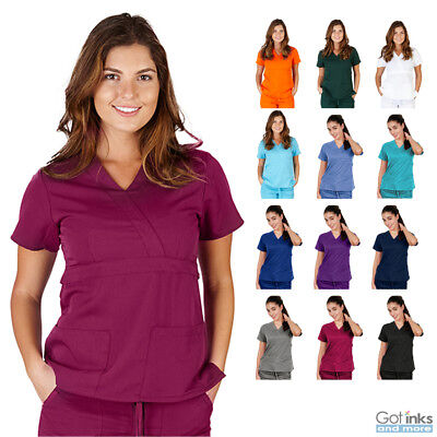 - Women's UltraSoft Junior Fit V-Neck Mock Wrap Scrub TOP ONLY Nursing Uniform
