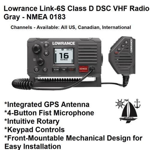 Lowrance Link-6S Class D DSC VHF Radio With Integrated GPS Antenna (74621) Gray