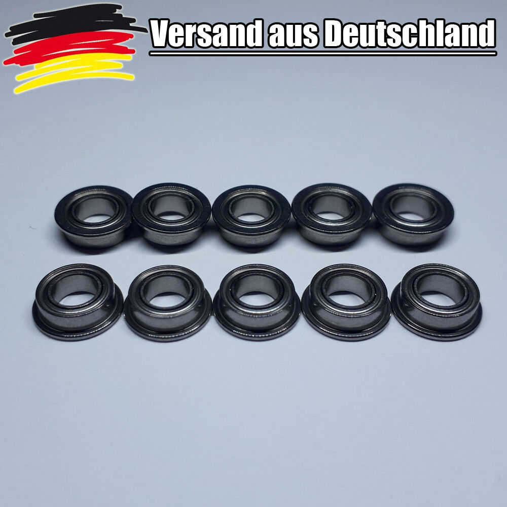10x Flanschkugellager 4x7x2.5 mm Miniature Kugellager mit Bund Bearings L0171