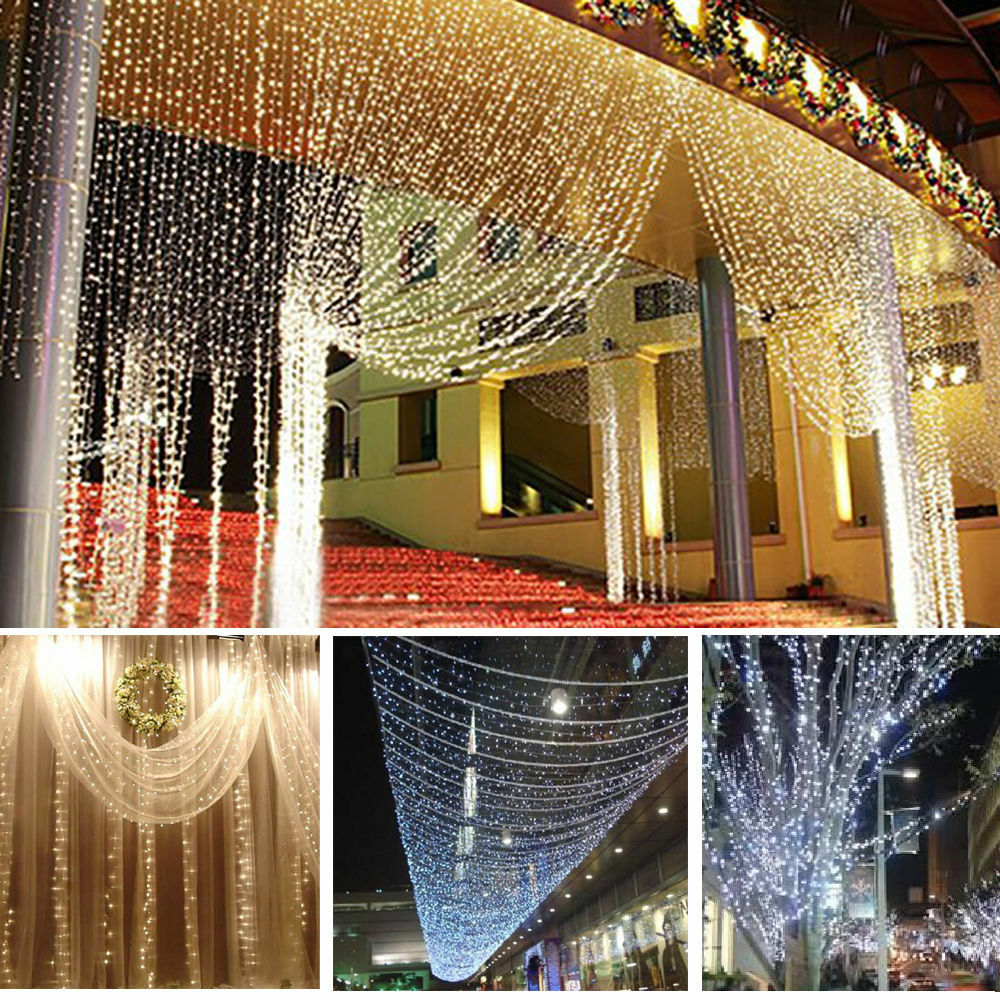 Led lichtervorhang lichterkette weihnachten beleuchtung - Lichtervorhang innen fenster ...