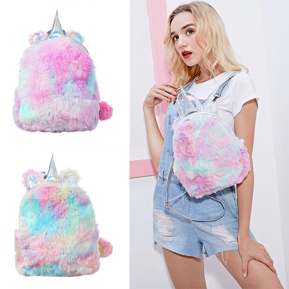 Soft Cute Travel Bags School Bag Rainbow Plush Girls Backbag