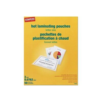 Staples 3 Mil Thermal Laminating Pouches Letter Size 50 Pack 677045