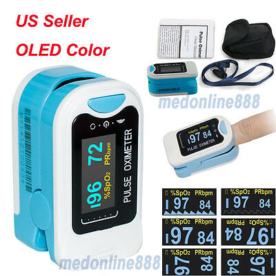 US Finger Pulse Oximeter Blood Oxygen Meter SPO2 OLED Heart Rate Monitor Pouch