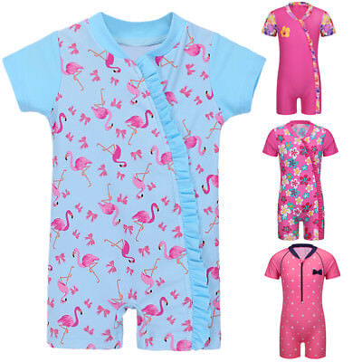Kid Girls Baby Flamingo One-Piece Full Body Swimsuit UV50+ Swimwear Bathing Suit ()