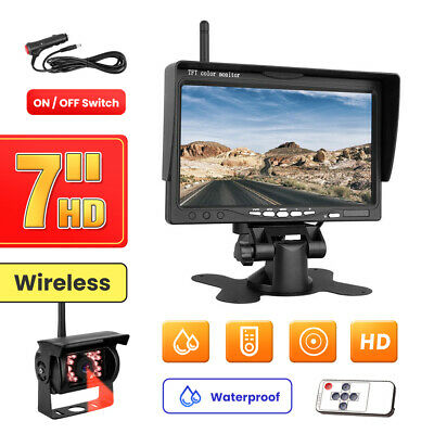 "Wireless 7"" Vehicle Rear View Monitor+Back Up Camera for Truck RV Trailer Camper"