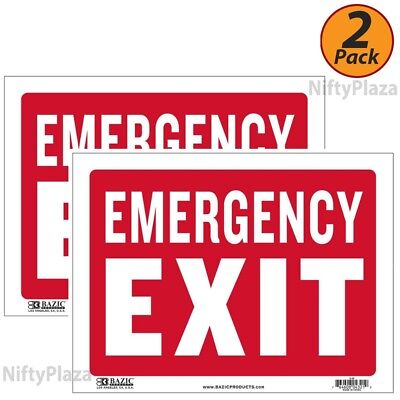 2 Pack - Emergency Exit Sign 9 Inch X 12 Inch Durable Plastic Weatherproof
