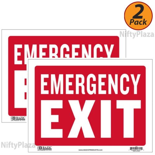 2 Pack - Emergency Exit Sign 9 inch x 12 inch Durable Plastic, Weatherproof
