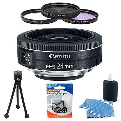 Canon EF-S 24mm f/2.8 STM Camera Lens Bundle w/ 3 Pc. 52mm Filter Kit + More