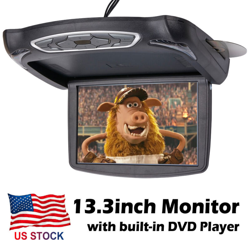13.3 inch Car Flip Down Overhead Roof Mounted Monitor w/ Built-in DVD Player USB