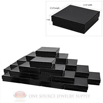 25 Black Pinstripe Cotton Filled Gift Boxes 3 12 X 3 12 Pendant Bangle Box