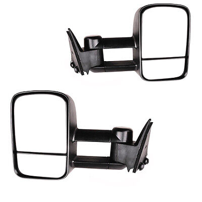 For 88-98 Chevy GMC C/K Tahoe Yukon Black Manual Towing Mirrors Side Tow Pair