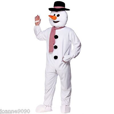 ADULT CHRISTMAS XMAS SNOWMAN BIG HEAD WITH HAT MASCOT ONESIE FANCY DRESS COSTUME