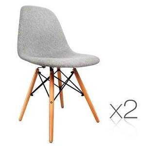 Set of 2 Dining Chair Fabric Grey Brisbane City Brisbane North West Preview