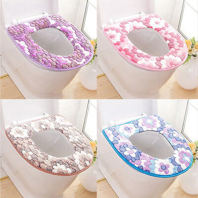 Warm Toilet Seat Covers - Flower Print Soft Warm Toilet Cover Seat Lid Pad Mat Seat Cushion Bathroom BA