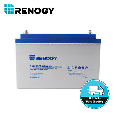 Renogy Devious Cycle Pure GEL Rechargeable Battery 100Ah 12V 12 Volt Solar Group