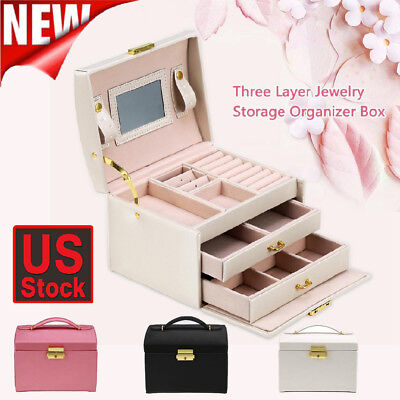 - Holiday Gift Travel Portable Jewellery Box Organizer Mirror Drawers Jewel Case