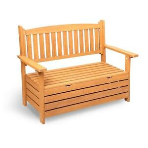 2 Seater Outdoor Furniture Wooden Bench Seat Chair w/ Storage Cabinet Box