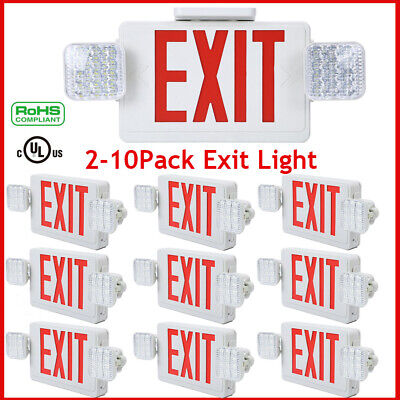 2-10x Led Exit Sign Emergency Lighthi Output Red Compact Combo Ul Comborjr2 Lot
