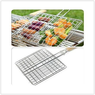 BBQ Grill Mesh Net Grid Basket Outdoor Cooking Roast Tool Grilling Meat Fish LEK