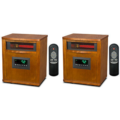 2 Lifesmart 6 Element 1800 Sq FT Portable Infrared Quartz Electric Space Heaters