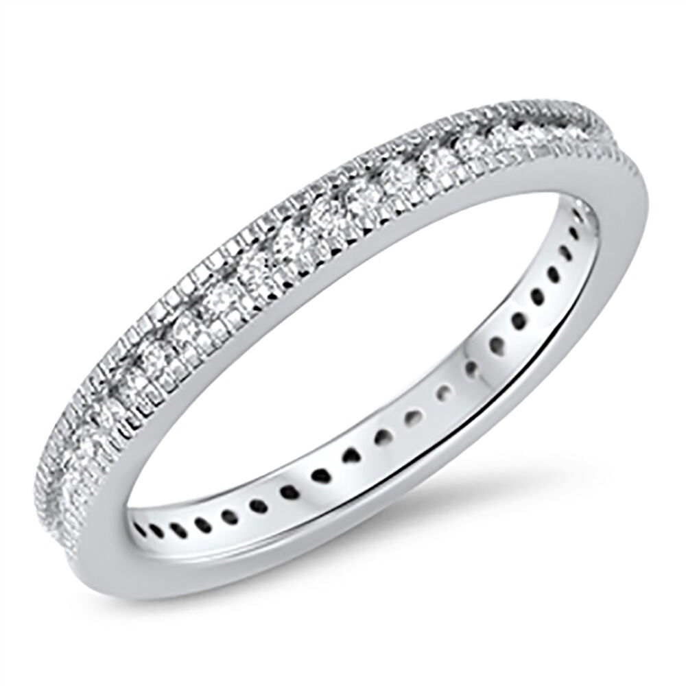 Sterling Silver .925 CZ Round Vintage Design Eternity Wedding Band Ring Sz 4-10