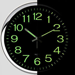 12'' Wall Clock Glow In The Dark Silent Quartz Indoor Outdoor Luminous Decor US