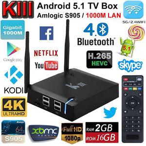 KIII Smart TV BOX Android5.1 Lollipop Amlogic S905 2GB 16GB XBMC KODI WIFI 4K 3D
