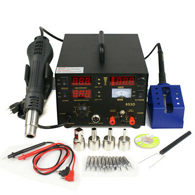 3in1 Soldering Station Rework Hot Air Iron 853d 11 Tips Smd 3 In 1