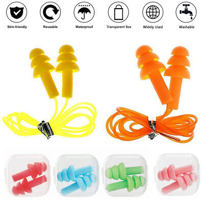 10 Pairs Ear Plugs Silicone Corded Anti Noise Reusable Hearing Protection Soft