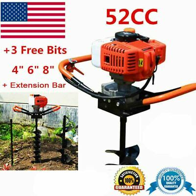 52cc Post Hole Digger Gas Powered Earth Auger Borer Fence Ground Drill3 Bit Us