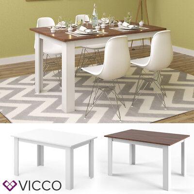 VICCO Esstisch KARLOS 140cm Weiß Nussbaum Esszimmertisch Wohnzimmer Küchentisch
