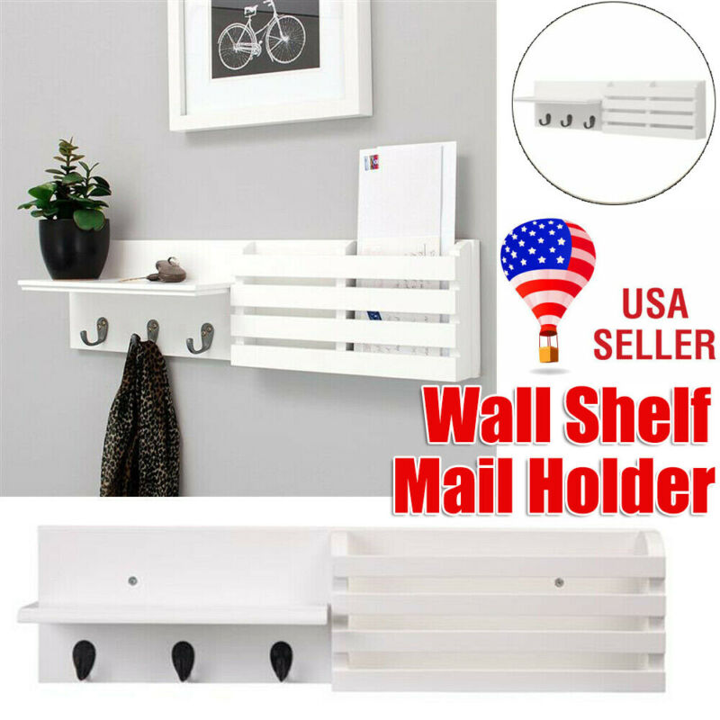 Wall Shelf Mail Holder with 3 Hooks, Floating Shelves Display Storage Ledge Rack