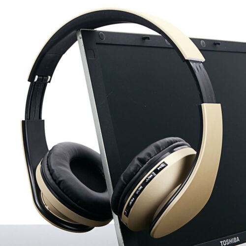 Wireless Bluetooth Headset Stereo Headphones Earphone For iPhone Samsung Gold