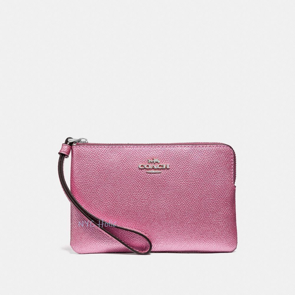 New Coach F58032 F58035 Corner Zip Wristlet With Gift Box New With Tags Metallic Blush